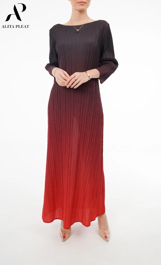 Ombre 3/4 Sleeve Dress