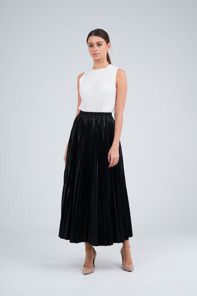 Faux Leather Black Pleated Skirt