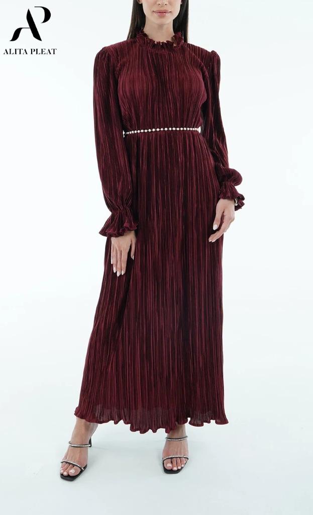 Camila Pleated Dress With Long Sleeve Ruffle Hem