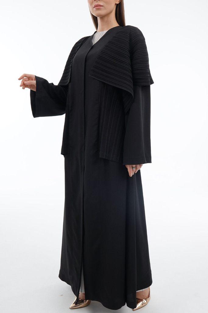 Abaya With Folded Front-Panel And Shayla