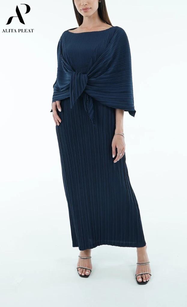 Devin Long Dress With Shoulder Cape