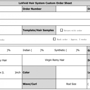 how to fill out a custom made hair gadget shape