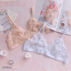 WingsLove Women's Triangle Sexy Semi Sheer Lace Wirefree Bra